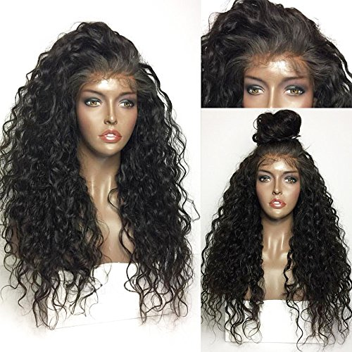 Rechoo Synthetic Lace Front Wigs Long Loose Curly Thick Full Ends Natural Black Hair Hairline with Baby Hair and Soft Swiss Lace Adjusted Cap 120% Density for African American 26 - Head American Office Swiss