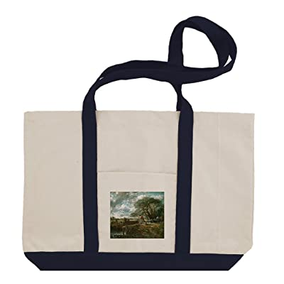 A Boat Passing A Lock (Constable) Cotton Canvas Boat Tote Bag Tote