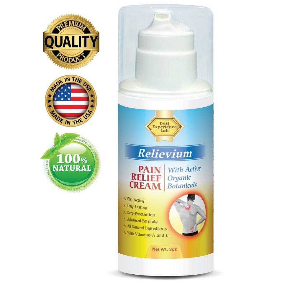 Amazon Com Relievium Best Natural Muscle Joint Pain Relief Cream Oz Arthritis Sciatica Back Chronic Pain Reliever Best Of Celadrin