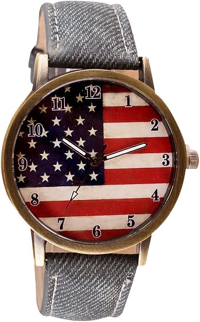 Inicio de Hombre y de la Mujer Chic Relojes la Bandera Americana patrón Pulsera de Reloj de Pulsera: Amazon.es: Relojes