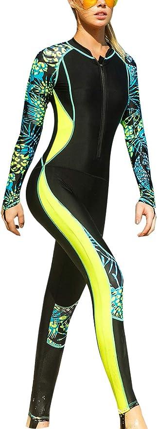 Mujer Trajes de ba/ño Manga Larga Proteccion Solar Tops Secado R/ápido Ba/ñadores Rashguard Ropa de Ba/ño Buceo Nataci/ón Surf Ropa Playa