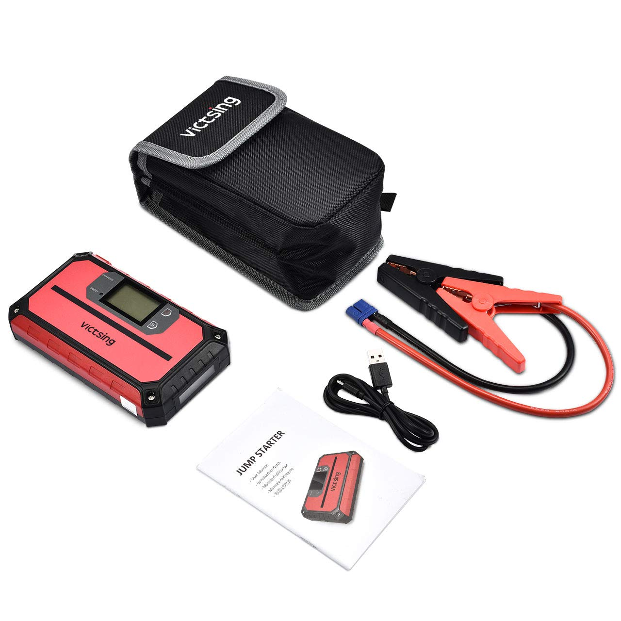 LED Flashlight 12V Power Bank with DC Port Built-in Smart Protection VicTsing 1000A 20800mAh Super Safe Auto Battery Booster with USB Quick Charge Up to 8.0L Gas or 6.0L Diesel Car Jump Starter