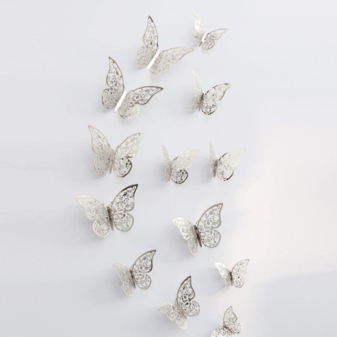 E Saihui 12Pcs Mariposas Decoraci/ón Pared Pegatina nevera de 3D Decorativa para Hogar Oficina Bar Pared 3 tama/ños DIY Mural Decalques Papel Artesan/ía Inicio Decoraci/ón