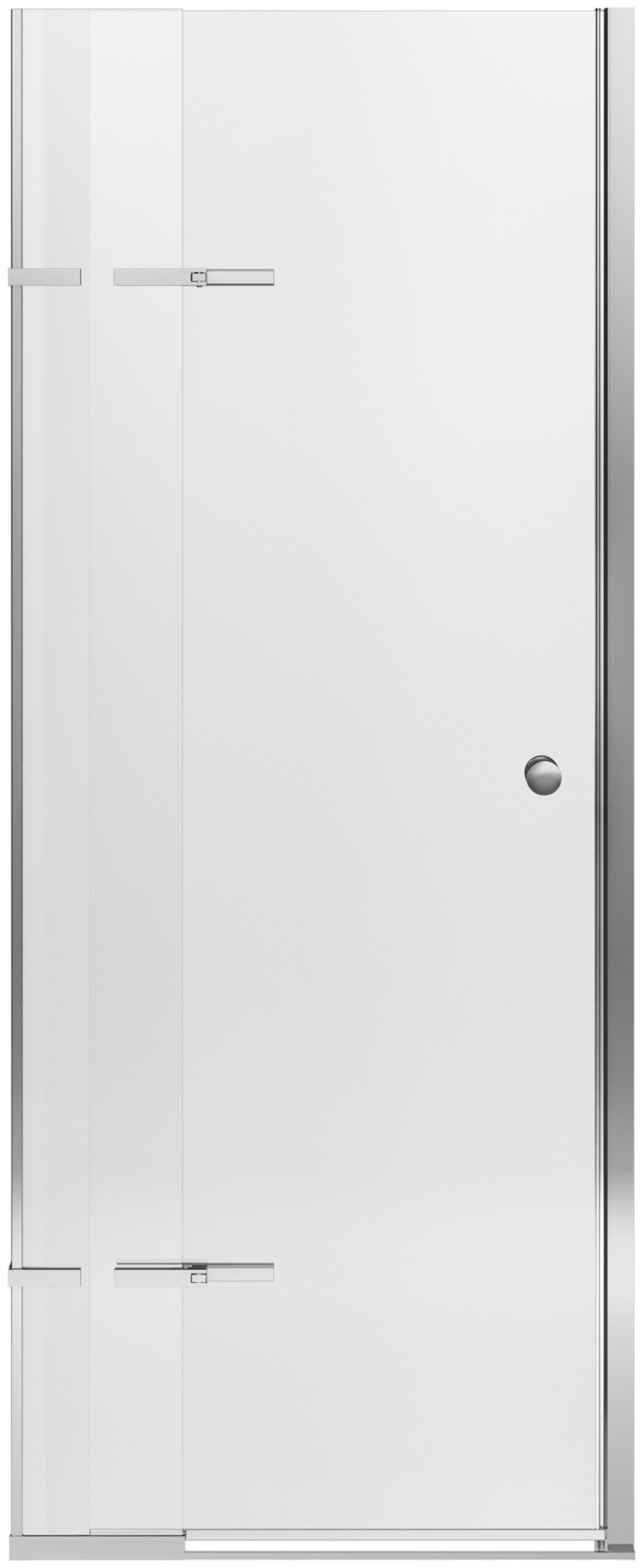 KOHLER K-709032-L-SHP Underline Pivoting Shower Door, 69-1/2'' H x 28 to 31'' Width with Adjustable Hinges and 1/4'' Thick Crystal Clear Glass, Bright Polished Silver