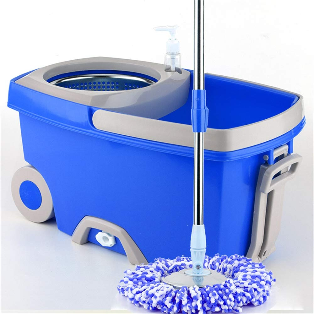 Linbing123 360 Spin Mop Bucket with 3 Extra Microfiber Head Refills 2X Wheels Stainless Steel Drainage Basket for Home Floor Cleaning by Linbing123