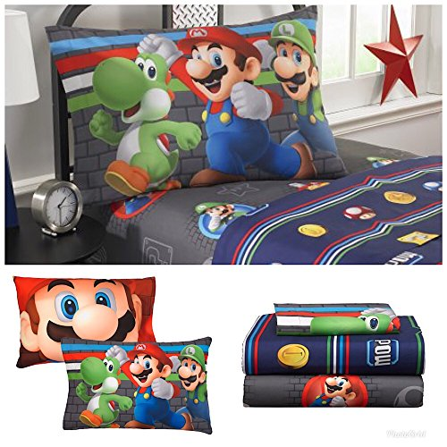 Super Mario Brothers Kids Twin Bedding sheet Set