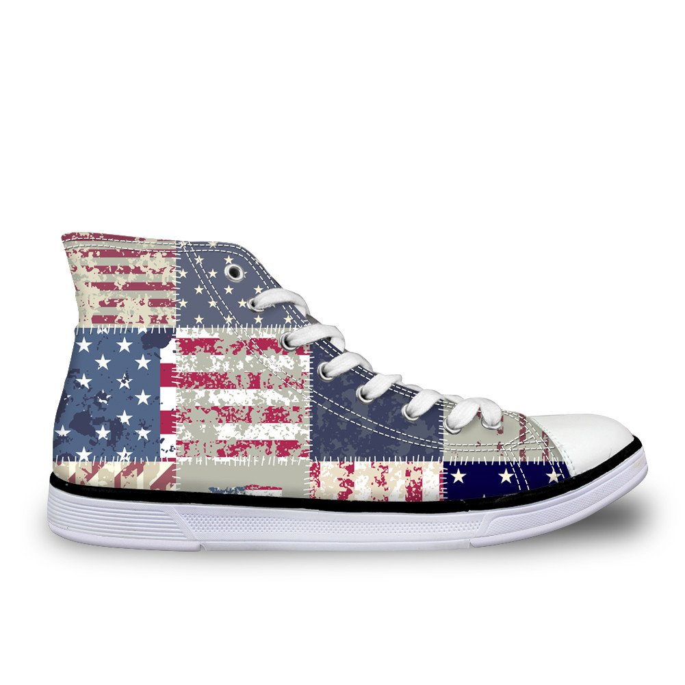 chaqlin US UK Flag Star Casual Canvas Shoes Unisex High Top Lace Up Flat Fashion Sneakers