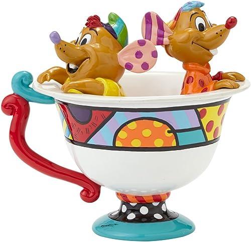 Enesco Disney by Britto Jaq Gus in Tea Cup Figurine, 5-Inch