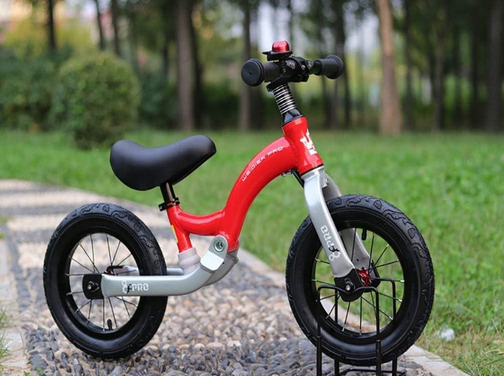 Bike Balance de 4 años de 12 pulgadas, n-Pedal aprender a montar con altura ajustable con neumáticos inflables anillo de Bell y el soporte for Niñas Niños de 2 a 6 años anteriores a la bicicleta de em