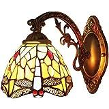 BAYCHEER Applique Murale Lèche-murs Style Tiffany Lampe Libellule Abat-jour en Verre Eclairage Decoratif