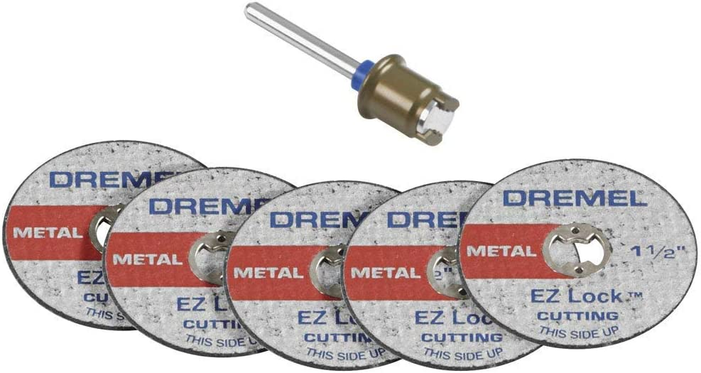 Dremel EZ406-02 1 1/2-Inch EZ Lock Rotary Tool Cut-Off Wheel and Mandrel Metal Cutting Starter Kit (3)