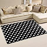 Naanle Black and White Area Rug 3'x5′, Polka Dots Polyester Area Rug Mat for Living Dining Dorm Room Bedroom Home Decorative