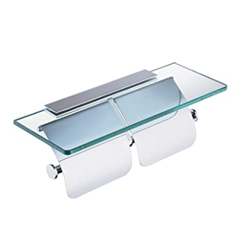 Luxury Toilet Paper Holder With Glass Shelf