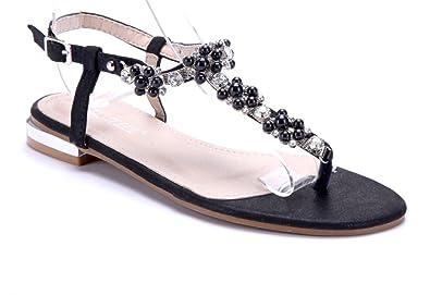 Schuhtempel24 Damen Schuhe Zehentrenner Sandalen Sandaletten schwarz flach  Ziersteine c8649e463d