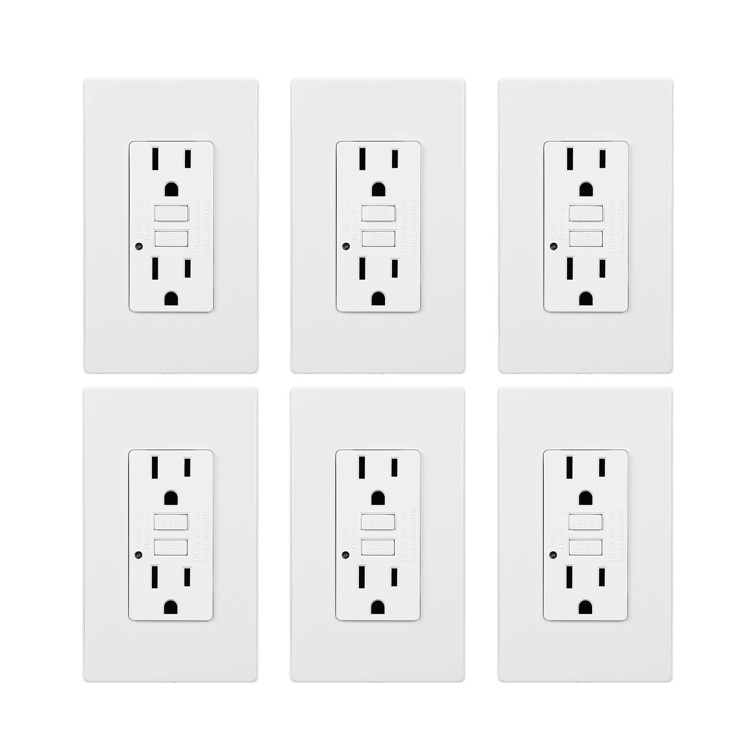 TORCHSTAR 15 Amp GFCI Receptacles, Dual AC Outlets, Surge-Protected, 2 Wall Plate Included + LED Indicator Light, ETL-listed, 120V, White, Pack of 6