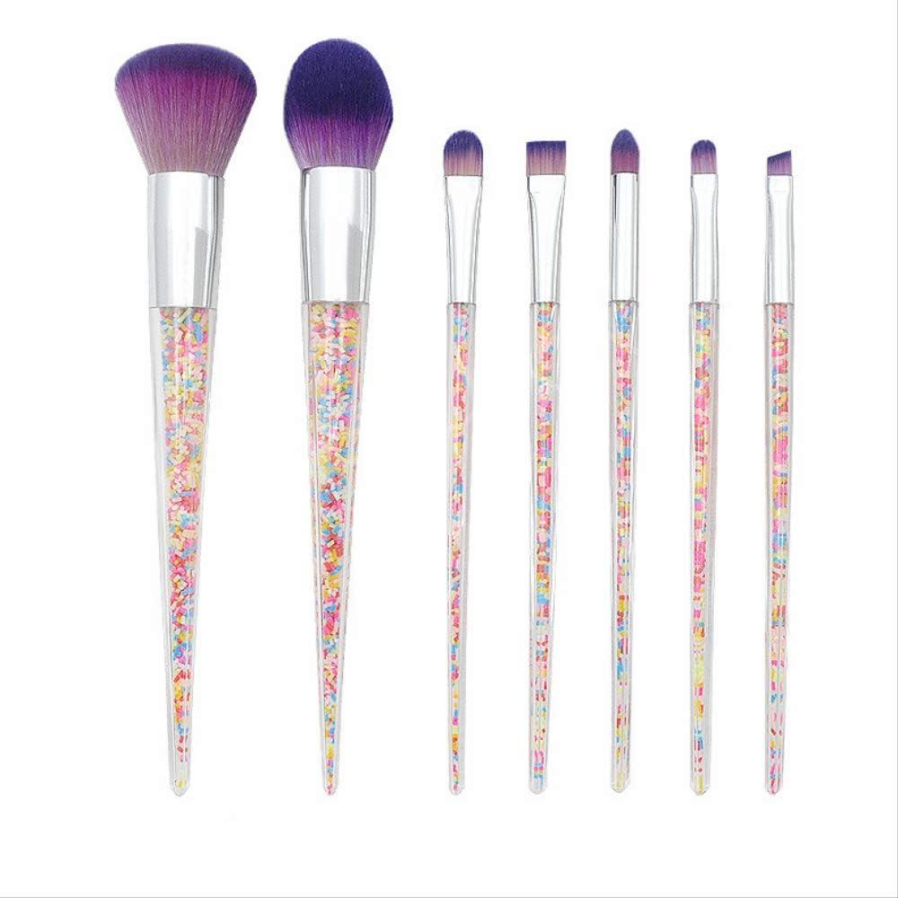Brochas De Maquillaje Set 7 Cono De Diamante Transparente Con Mango De Pellet Conjunto De Pinceles De Maquillaje Herramienta De Belleza De Ojos De Polvo Suelto De Plástico
