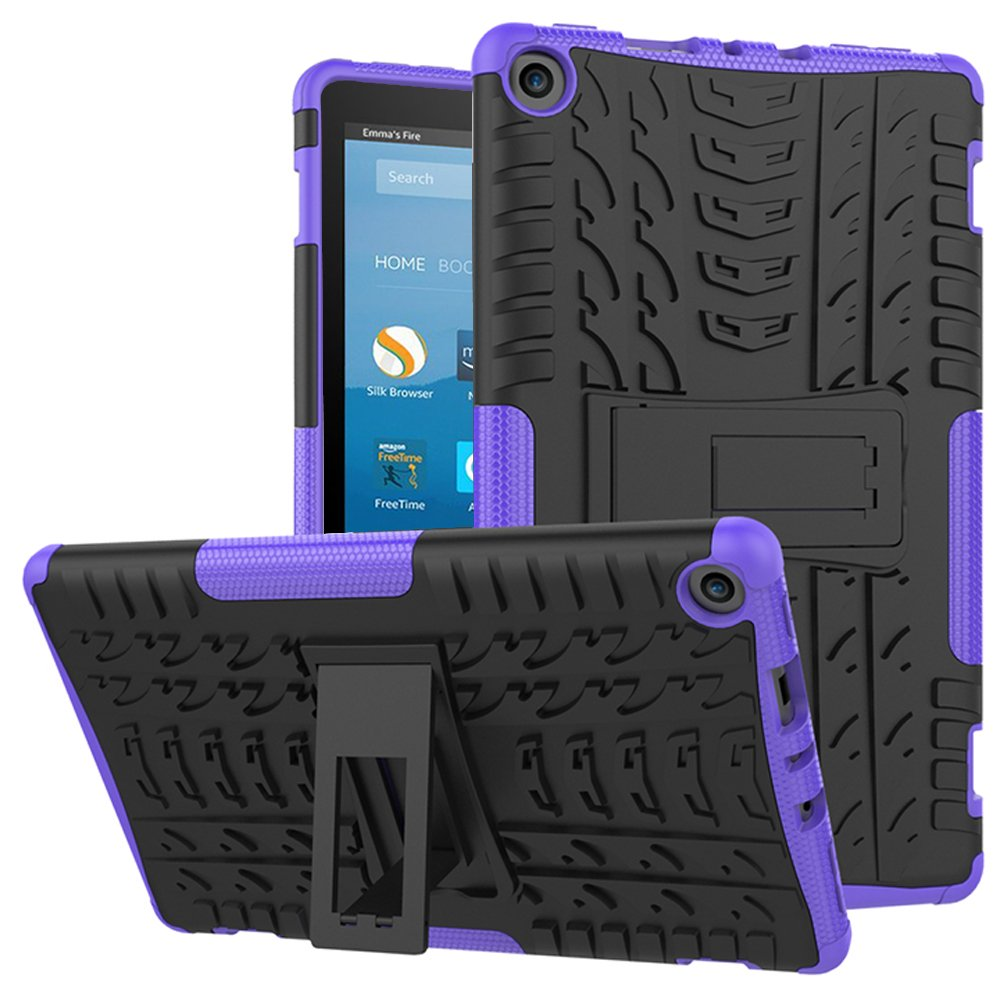 Cherrry Fire HD 8 Tablet Case, Heavy Duty Box Body Cover Fire HD 8 Anti-slip protective film, (7 generation, released in 2017) (Purple)