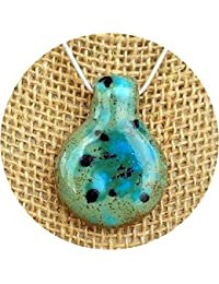 Teal Drop Glass Essential Oil Diffuser Aromatherapy Pendant Necklace .925 Sterling Silver