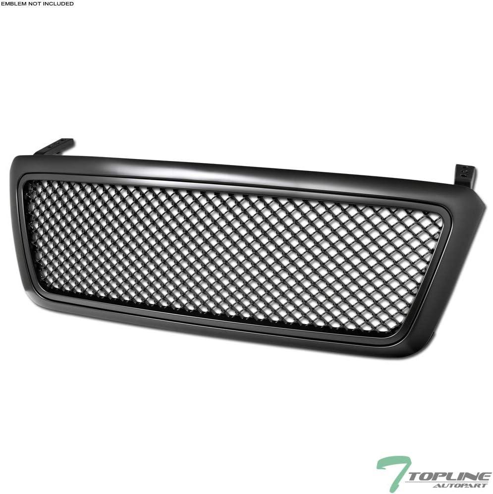 04-08 Ford F150 Matte Black Raptor Front Hood Mesh Grille+Shell+White LED Light