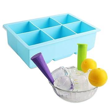5 paquetes de moldes para cubitos de hielo cuadrados grandes y moldes de hielo para niños