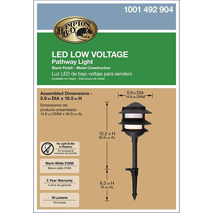 Hampton Bay Low Voltage LED Black 3-Tier Metal Path Light - Lasts Up to 50, 000 HOURS - Costs Just Pennies to Operate - Corrosion RESISTANT - DURABLE Yet ...