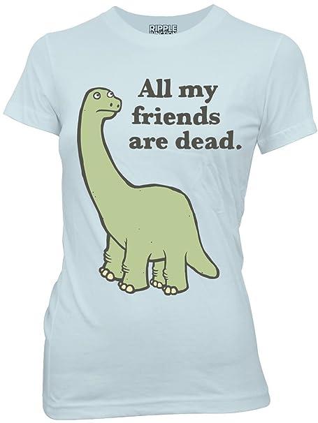 Haunted Flower Dinosaurio todos mis amigos están muertos Juniors luz azul camiseta - -