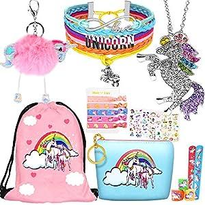 Best Epic Trends 61OljNabZpL._SS300_ 8 pcs Unicorn Gifts for Girls Teen Necklace Bracelet Jewelry Hair Ties Backpack Slap Bracelet Stickers Keychain Coin…