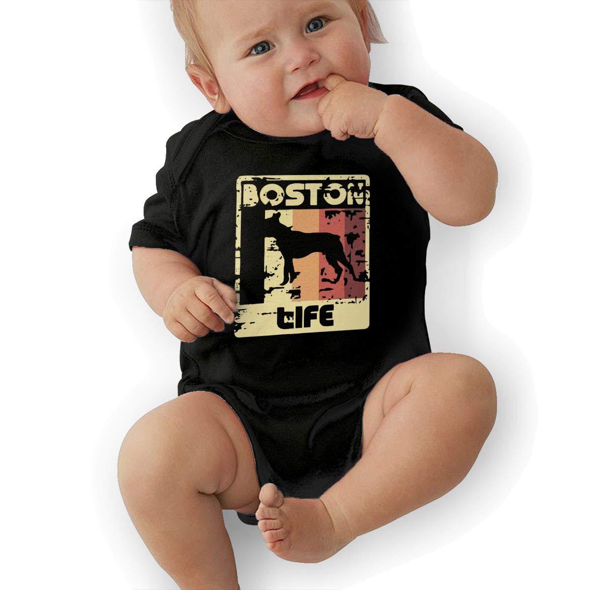 Boston Terrier Life Baby Boys Girls Jumpsuit Overall Romper Bodysuit Summer Clothes Black