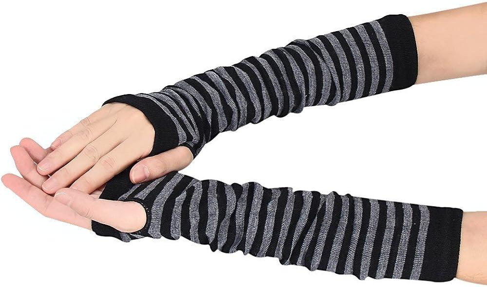 TONSEE Damen Baumwolle Armstulpen Stripe Fein Strick lang Fingerless Pulsw/ärmer Handw/ärmer Stulpen