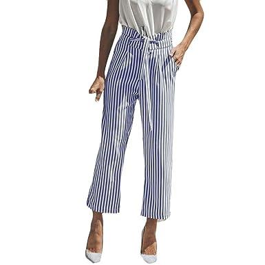 SANFASHION Damen Hosen Pantalón - para Mujer Azul 44: Amazon ...