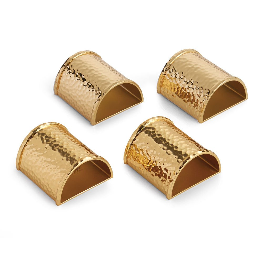 Michael Aram Hammertone Napkin Ring Set Goldtone