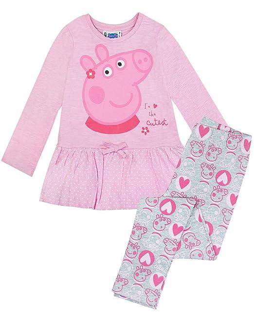 Peppa Pig - Set Leggings y Camiseta Modelo The Cutest para niñas (1-1.5