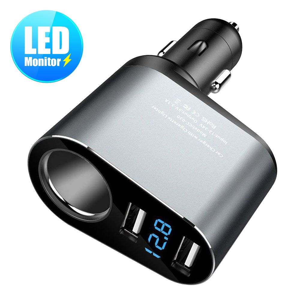 FLOVEME Car Charger, LED Voltage Monitor Dual Port USB Car Cigarette Lighter Charger Compatible for iPhone Xs, X, 8, 7, 6s, 6 Plus Samsung Galaxy Note 9, 8, S9, S8 Google Pixel 2 XL, LG Etc.