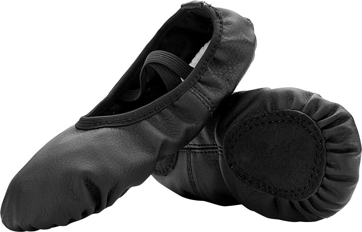 FEETCITY Womens Ballet Pumps Soft Ballerina Shoes/Dancing Shoes Black 7.5 B(M) US Women