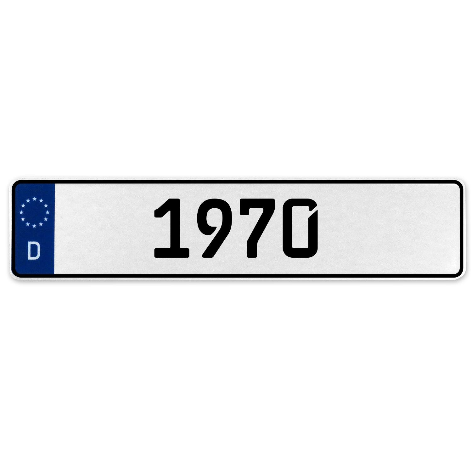 Vintage Parts 553369 1970 Year White Stamped Aluminum Deutschland License Plate
