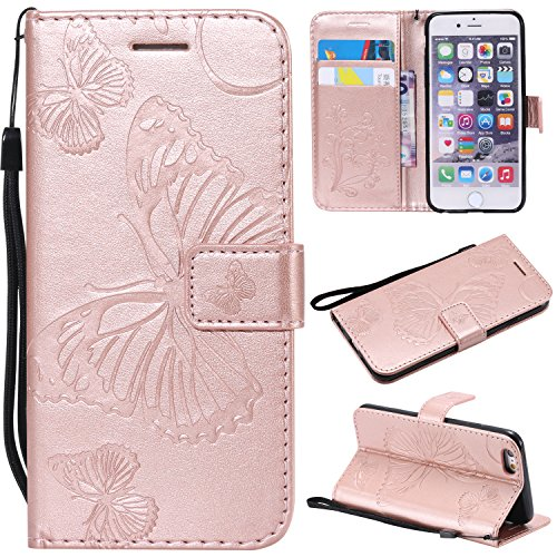 Price comparison product image iPhone 6S Wallet Case, iPhone 6S Case with Card Holder, iPhone 6 Leather Flip PU Phone Protective Case Cover with Credit Card Holder Slots for Apple iPhone 6S / 6 with Stand, Cute Butterfly Rose Gold