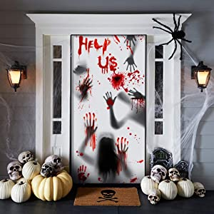 Halloween Giant Bloody Handprint Decorations - 3 PCS Halloween Door Cover Window Poster, 72 X 30 Inches Halloween Props Poster Scary Zombie Creepy for Haunted House Decor Halloween Party Favor