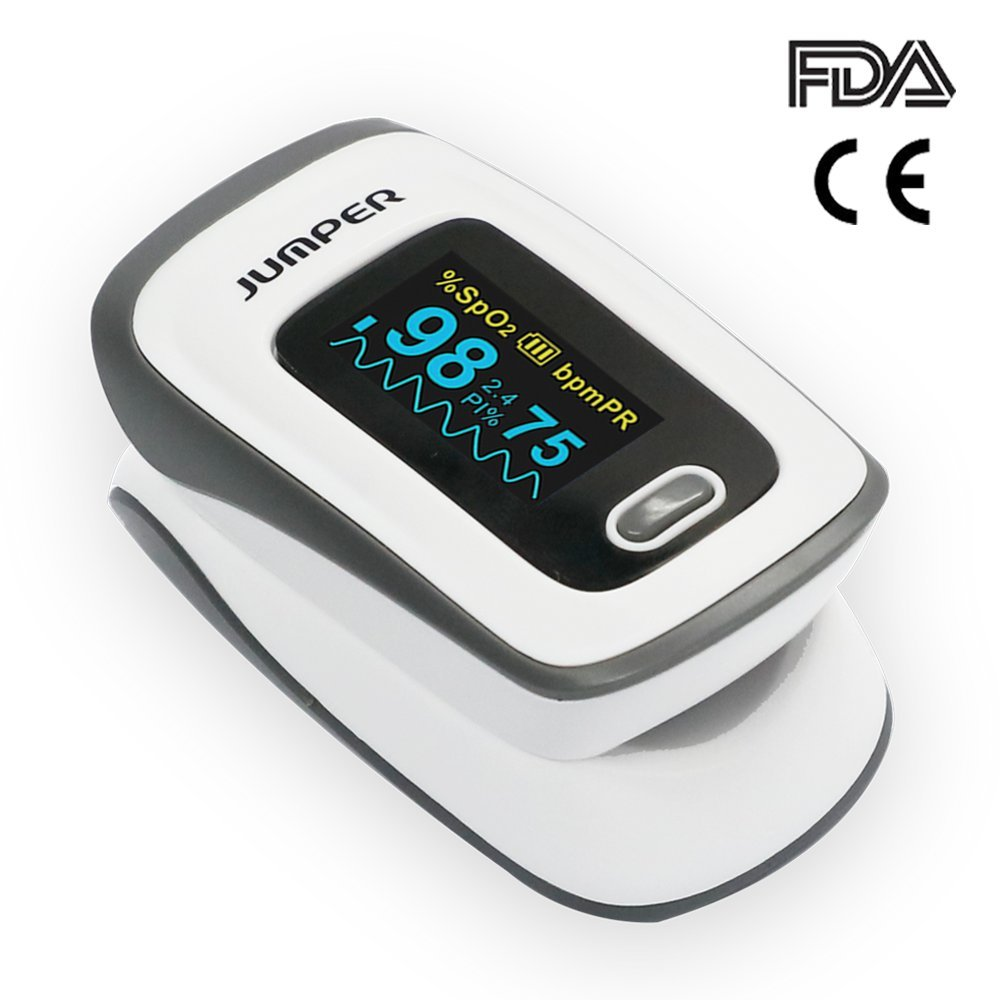 Jumper 500E Fingertip Pulse Oximeter Blood Oxygen Saturation Sensor Instant Read Pulse Rate Monitor with Perfusion Index Alarm Function 2 Batteries Lanyard Pouch (Blue) (White)