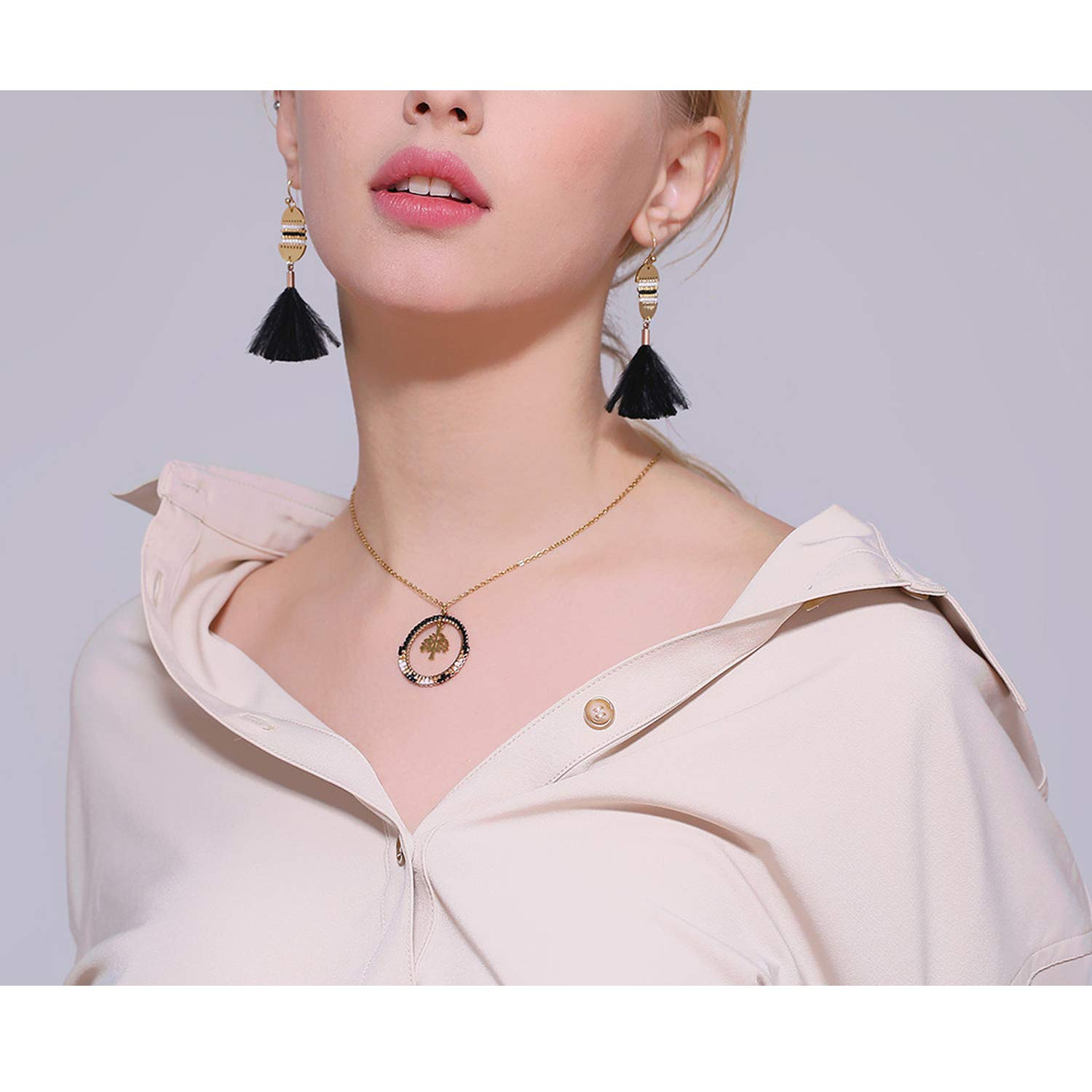 Minusone Golden Chain Necklace Stainless Steel Round Tree Pendant Fashion Delicate Short Chain Jewelry