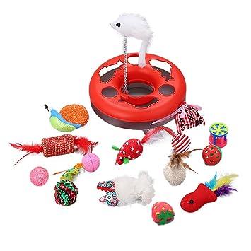 Sue Supply Juego de 15 juguetes para gatos, juguete giratorio para gatos, juguete de