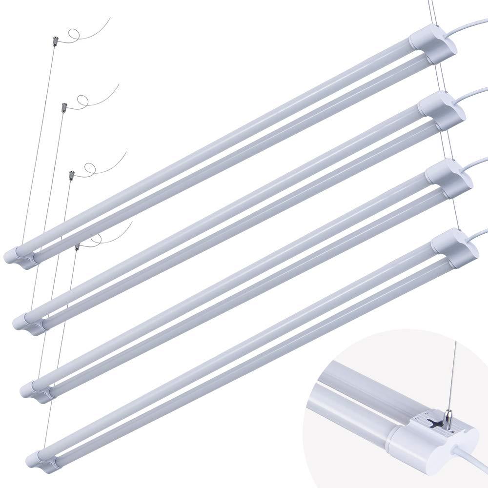 4' LED Shop Light for Garage Workbench Ceiling, Double Integrated LED Tube Lights, 4ft 40Watt 4000LM Lighting Fixture, 80 Watt Fluorescent Equivalent (4PACK, 6500K Day White)