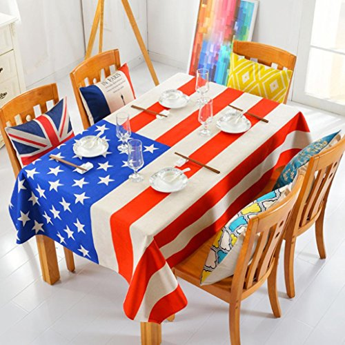 Gotd American Flag Pattern Table Cloth Tablecloth Thick Cotton linen Tablecloth Soft 100cmx40cm by Goodtrade8
