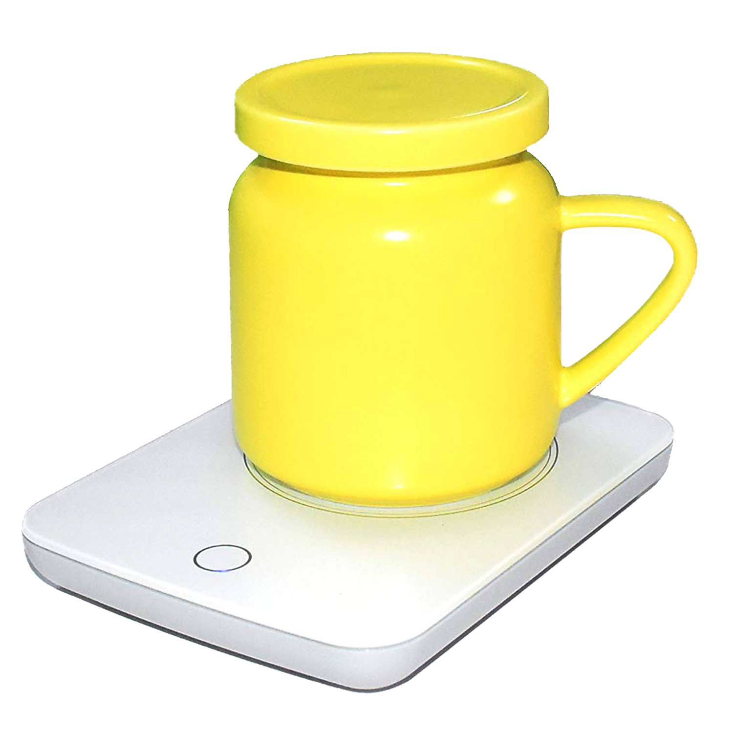 Coffee Mug Warmer For Desk Auto Shut Off Beverage Warmer-(Up to 131F℉/55℃) for Home & Office Use (with Yellow Ceramic Mug)