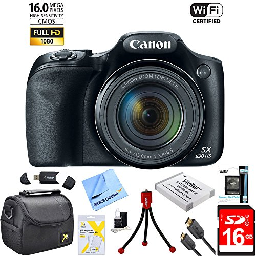 Powershot - Canon Powershot SX530 HS 16MP Wi-Fi Super-Zoom Digital Camera 50x Optical Zoom Ultimate Bundle Includes Deluxe Camera Bag, 16GB High Speed Memory Card, Extra Battery, Tripod, Card Reader & More