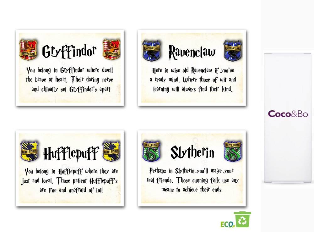 Coco&Bo - Magical Wizarding Hogwarts Houses Table Cards - Harry Potter Theme Birthday Party Table Decoration - Gryffindor, Ravenclaw, Slytherin and Hufflepuff