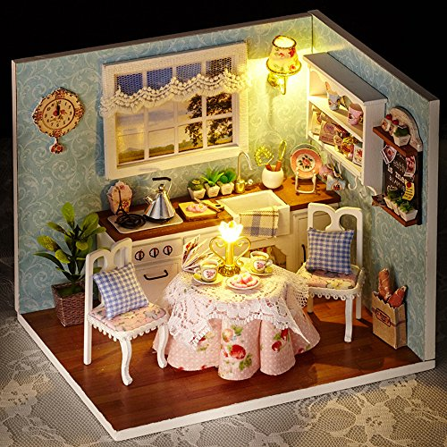 Spilay DIY Miniature Dollhouse Wooden Furniture Kit,Handmade Mini Home Model with Dust Cover & Music Box ,1:24 Scale Creative Doll House Toys for Children Gift(Happy Kitchen) H08