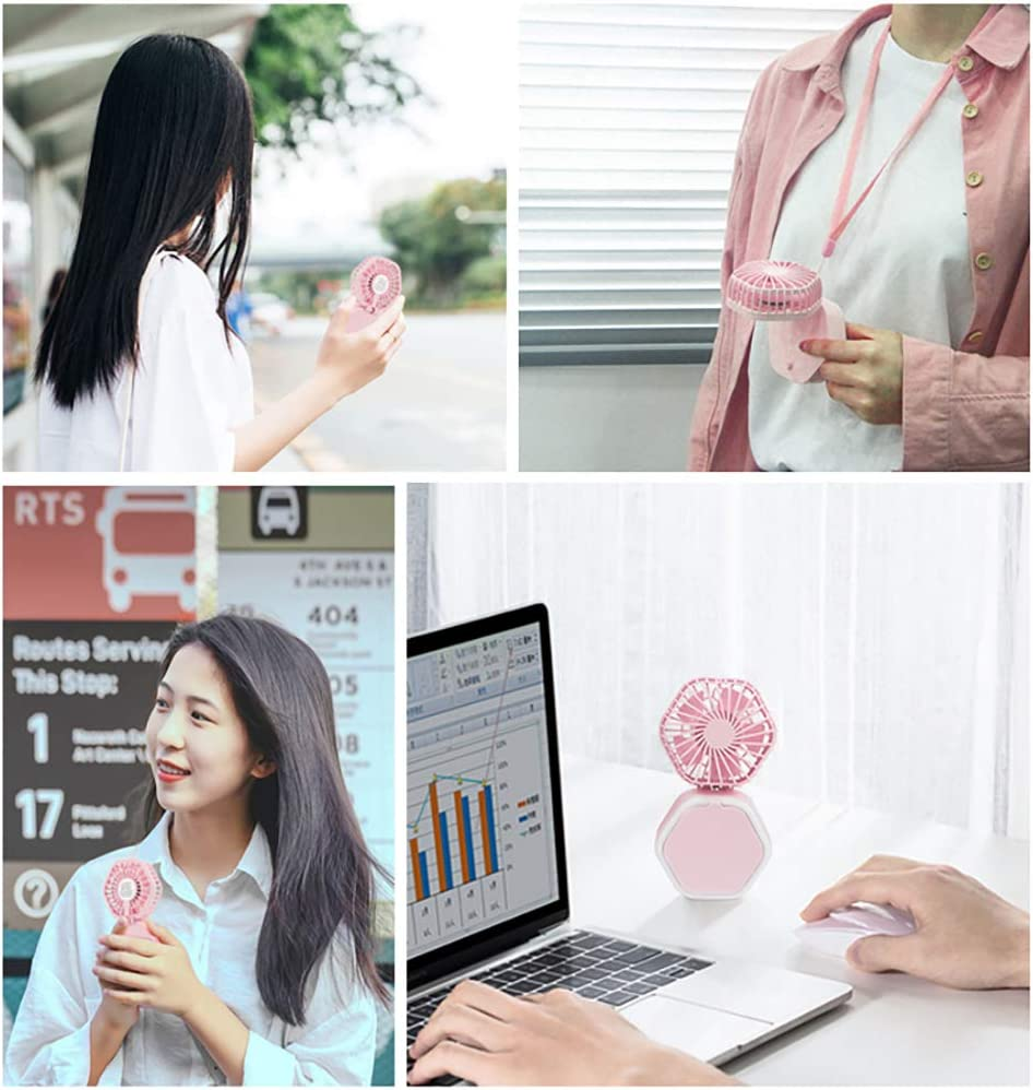 BELUPAID Mini Fan USB Rechargeable Portable Quiet Pocket 180/°Folding Handheld Personal Small Cooling Fan with Makeup Mirror Led Light for Office Outdoor Travel