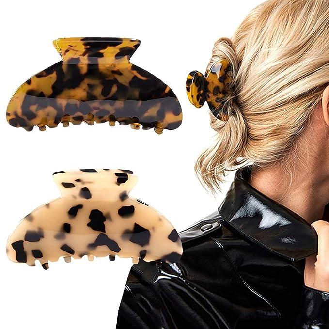 8Pcs Acrylic Hair Claw Banana Clips Celluloid French Design Barrettes Kit 9Pcs