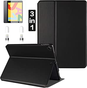 CoBak Case for New iPad 8th Gen (2020) / 7th Generation (2019) 10.2 Inch Includes Leather Case,Screen Protector and Apple Pencil Caps- Fits iPad Air 3rd Generation 10.5
