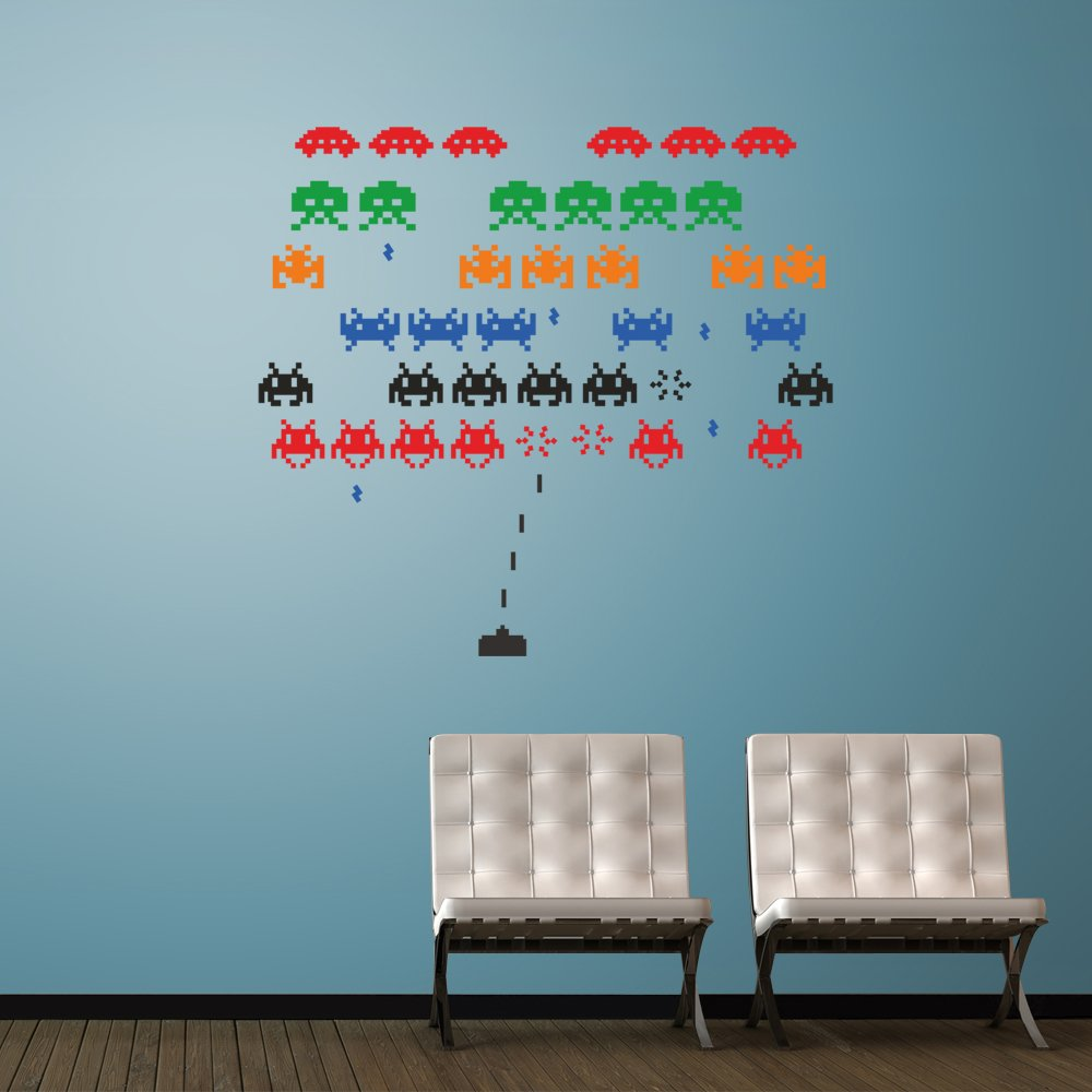 space invaders wall decal art sticker lounge living room bedroom space invaders wall decal art sticker lounge living room bedroom hall small amazon co uk kitchen home
